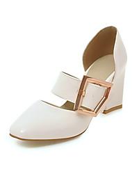 cheap -Women's Heels Chunky Heel Round Toe Buckle PU Spring &  Fall Black / White / Pink / Wedding