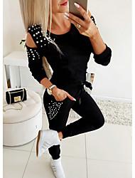 cheap -Women's Basic Solid Colored Two Piece Set Tracksuit Set Pant Loungewear Rivet Tops