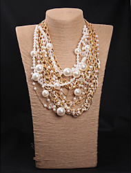 cheap -Women's Pearl Pearl Necklace Layered Floral / Botanicals Statement Cute Imitation Pearl White Coffee 54+7 cm Necklace Jewelry 1pc For Wedding Engagement