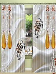 cheap -Pair of Rings Digital Printing on Silk Style 3D Curtain Shading Curtain High Precision Black Silk Fabric High Quality Curtain