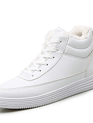 cheap -Women's Sneakers Creepers Round Toe Microfiber Casual Walking Shoes Winter Black / White