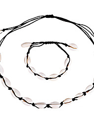 cheap -Women's Necklace Bracelet Braided Shell Vintage Trendy Ethnic Fashion Boho Shell Earrings Jewelry Black / White For Daily Holiday Festival Two-piece Suit