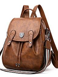 cheap -Women's Cowhide Shoulder Strap School Bag Commuter Backpack Adjustable Large Capacity Zipper Daily Backpack Black Brown Dark Blue