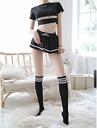 cheap -Women's Lace / Cut Out / Mesh Uniforms & Cheongsams / Suits Nightwear Jacquard / Solid Colored Black One-Size