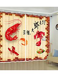 cheap -Shrimp and Crab Food Digital Printing Creative 3D Curtain Shade Curtain High Precision Black Silk Fabric High Quality First Class Shade Curtain