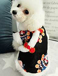 cheap -Dogs Cats Pets Dress Winter Dog Clothes Black Costume Polyster Print Ethnic New Year's S M L XL XXL