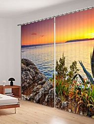 cheap -Sunset Digital Printing 3D Curtain Shading Curtain High Precision Black Silk High Quality Curtain
