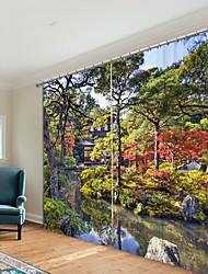 abordables -kiosque dans les bois impression numérique 3d rideau rideau d'ombrage haute précision en tissu de soie noire rideau de haute qualité