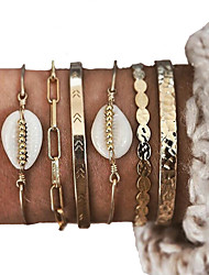 cheap -6pcs Women's Bracelet Bangles Cuff Bracelet Vintage Bracelet Layered Shell Vintage Trendy Ethnic Fashion Boho Shell Bracelet Jewelry Gold For Daily Street Club Festival / Earrings / Bracelet