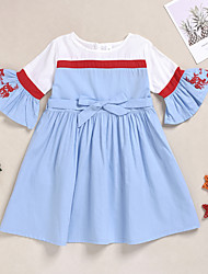 cheap -Kids Girls' Sweet Solid Colored Bow Embroidered Print Long Sleeve Knee-length Dress Blue