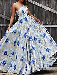 cheap -Women's Elegant Maxi Swing Dress - Floral One Shoulder Blue S M L XL