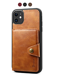 cheap -Phone Case For Apple Back Cover Leather iPhone 12 Pro Max 11 SE 2020 X XR XS Max 8 7 Card Holder Magnetic Solid Color PU Leather TPU