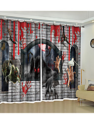 cheap -Halloween Halloween shading curtain high precision black silk fabric high quality grade one shading bedroom living room curtain