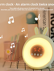 cheap -LED Rabbit Dream Time Sleeping Wake Up Light Desk Table Bedside Alarm Clock Lamp Rechargable For Bedroom Decoration Lamp