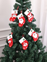 cheap -6pcs Christmas Gift Bags Hanging Tree Party Tree Decoration Santa Stockings Sock