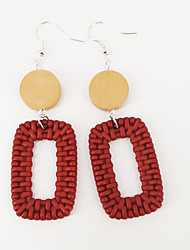 cheap -Women's Drop Earrings Long Happy Statement Punk Fashion Cute Boho Wood Earrings Jewelry Yellow / Green / Burgundy For Party Carnival Holiday Club Festival 1 Pair