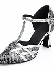 cheap -Women's Modern Shoes / Ballroom Shoes Lace Ankle Strap Heel Tassel Cuban Heel Customizable Dance Shoes Silver / Black / Gold / Performance