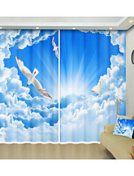 cheap -Blue Sky and White Cloud Flying White Pigeon Digital Printing Creative 3D Curtain Shade Curtain High Precision Black Silk Fabric High Quality First Class Shade Curtain