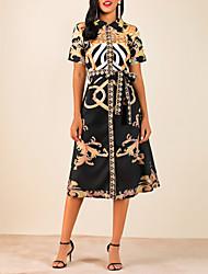 cheap -Women's Basic Asymmetrical Sheath Dress - Geometric Shirt Collar Yellow S M L XL