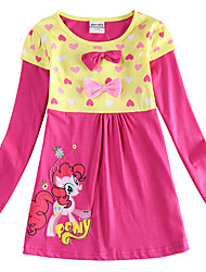 cheap -Kids Girls' Sweet Horse Rose Cartoon Print Long Sleeve Mini Dress Fuchsia / Cotton