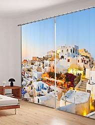 abordables -Style européen ville impression numérique sous le soleil couchant 3d rideau ombrage rideau haute précision noir tissu de soie haute qualité rideau