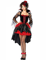 cheap -Vampire Dress Cosplay Costume Masquerade Adults' Women's Cosplay Halloween Christmas Halloween Carnival Festival / Holiday Lace Polyster Red Carnival Costumes Patchwork Holiday Halloween
