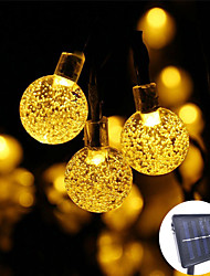 cheap -1pcs 30 LED 5m Crystal Ball LED Solar Lamp Power LED String Fairy Lights Solar Garlands Garden Christmas Decor For Outdoor
