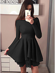 cheap -Women's Date Casual / Daily Basic Elegant A Line Dress - Solid Colored Layered Off Shoulder Black Blushing Pink Red S M L XL