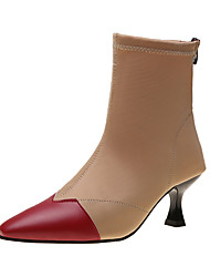 cheap -Women's Boots Kitten Heel Pointed Toe Stitching Lace Satin Booties / Ankle Boots Casual Walking Shoes Fall & Winter Black / Wine / Beige