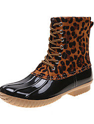 cheap -Women's Boots Rain Boots Block Heel Round Toe Stitching Lace PU Booties / Ankle Boots Casual Walking Shoes Fall & Winter Black / Brown / Leopard