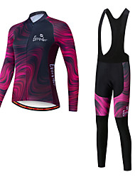 cheap -EVERVOLVE Women's Long Sleeve Cycling Jersey with Bib Tights Winter Burgundy Gradient Bike Sports Gradient Mountain Bike MTB Road Bike Cycling Clothing Apparel / Advanced / Stretchy / Athletic