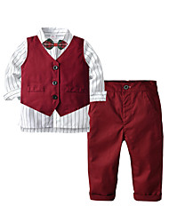 cheap -Kids Toddler Boys' Basic Birthday Party Party & Evening Solid Colored Long Sleeve Regular Regular Clothing Set Wine