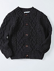 cheap -Toddler Boys' Basic Solid Colored Long Sleeve Cotton Sweater & Cardigan Black