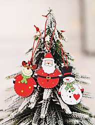 cheap -6 Piece Christmas Snowman Santa Claus  Wooden Pendants Ornaments Christmas Tree Crafts For Children Gift