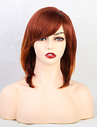 cheap -Human Hair Wig Natural Straight Bob With Bangs Multi-color Orange Cute Women New Capless Women's All Medium Brown / Light Blonde 12 inch / African American Wig / For Black Women