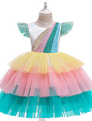 cheap -Unicorn Dress Flower Girl Dress Girls' Movie Cosplay A-Line Slip Cosplay Vacation Dress White / Pink Dress Halloween Carnival Masquerade Tulle Polyester