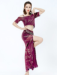 cheap -Belly Dance Outfits Women's Training / Performance Chiffon Beading / Split Short Sleeve Dropped Skirts / Top