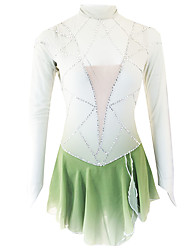 cheap -21Grams Figure Skating Dress Women's Girls' Ice Skating Dress Green Open Back Spandex Micro-elastic Training Skating Wear Classic Crystal / Rhinestone Long Sleeve Ice Skating Figure Skating