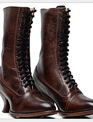 cheap -Women's Boots Comfort Shoes Stiletto Heel Round Toe PU Mid-Calf Boots Winter Black / Brown