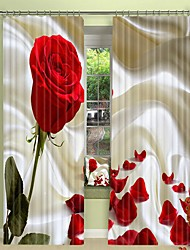cheap -Red Rose Digital Printing On Silk Style 3D Curtain Shading Curtain High Precision Black Silk Fabric High Quality Curtain