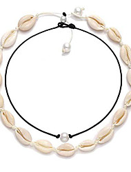 cheap -Women's Necklace Layered Shell Vintage Trendy Fashion Boho Cord Imitation Pearl Shell White 40 cm Necklace Jewelry 1pc For Gift Daily Street Festival