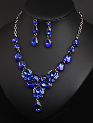 cheap -Women's Crystal Bridal Jewelry Sets Fancy Flower Statement Colorful Earrings Jewelry Dark Green / Royal Blue For Wedding Party 1 set
