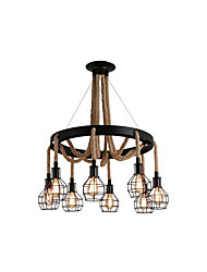 cheap -8-Light Hemp Rope Chandelier American Country Circle Chandeliers Antique Ceiling Lighting Semi Flush Mount for Dining Room/Bedroom/Living Room/Bar 8 Lights.