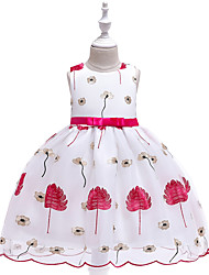 cheap -Kids Toddler Girls' Active Cute Floral Color Block Christmas Bow Pleated Print Sleeveless Knee-length Dress Blushing Pink