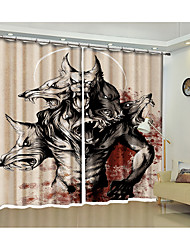 cheap -Halloween Curtain Fierce Werewolf Creative Environmental Protection Digital Print Curtain Halloween Theme Hotel Famous Personality Curtain High-Quality Shade Curtain