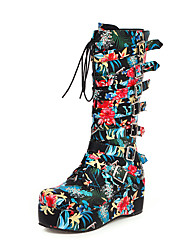 cheap -Women's Boots Knee High Boots Creepers Round Toe PU Knee High Boots British / Preppy Fall & Winter Black / White / Blue / Party & Evening
