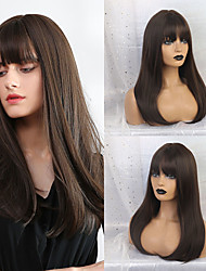 cheap -Synthetic Wig Bangs Straight Natural Straight Side Part Neat Bang With Bangs Wig Medium Length Dark Brown / Golden Blonde Synthetic Hair 24 inch Women's Cosplay Classic Women Dark Brown HAIR CUBE