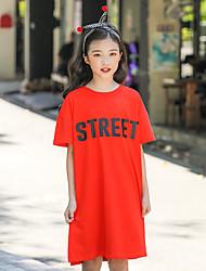 cheap -Kids Girls' Basic Letter Short Sleeve Midi Dress Blue