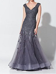 cheap -Mermaid / Trumpet V Neck Floor Length Tulle Elegant / Grey Formal Evening / Wedding Guest Dress with Appliques 2020