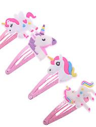 cheap -4Pcs Cartoon Glitter Unicorn Hair Clips Hairpins Cute Animal Plastic Hairclips Clips For Kids Girl Hearwear Hair Accessories